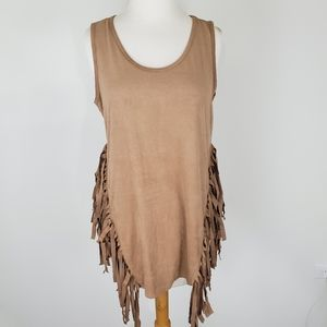 NEW DIRECTIONS FRINGE TUNIC TOP NWT